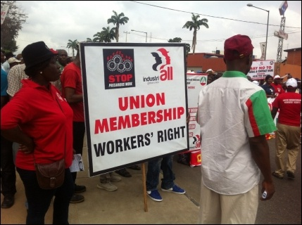 Workers on the Decent Work Day march in Lagos - photo DSM