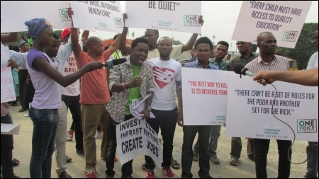 HT Soweto, National Coordinator ERC & member DSM NEC, at the Lagos protest - photo DSM