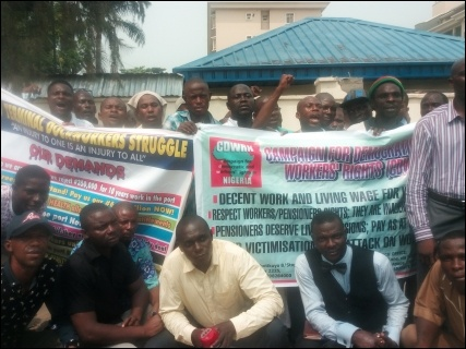 Dockworkers protesting outside the Lagos Industrial Court - photo DSM