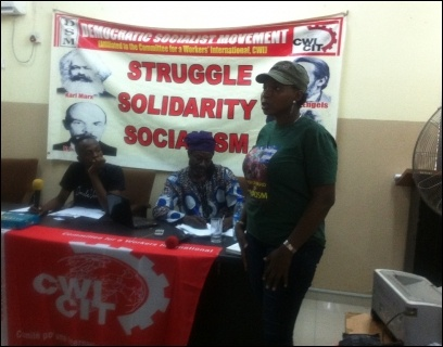 Shewa Adekoya contributing to the debate - photo DSM