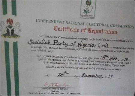 The SPN's INEC Certificate - photo DSM