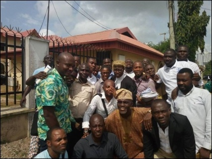 Joyous Dangote Truck Officers with their lawyer Toluwani Adebiyi after the hearing - photo DSM