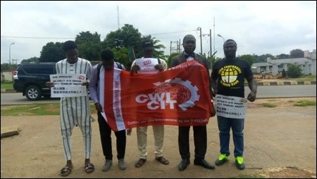Protesting oustdie the Chinese embassy in Abuja  - photo DSM