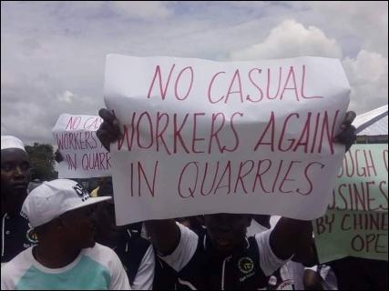 Ogun State mine workers on the picket line - photo DSM