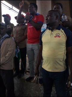 Abbey Trotsky, acting SPN National Chair and Oyo State SPN Guber Candidate, addressing protesting workers in Ibadan- photo DSM