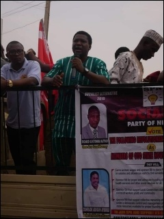 Abbey Trotsky campaigning in Oyo - photo DSM