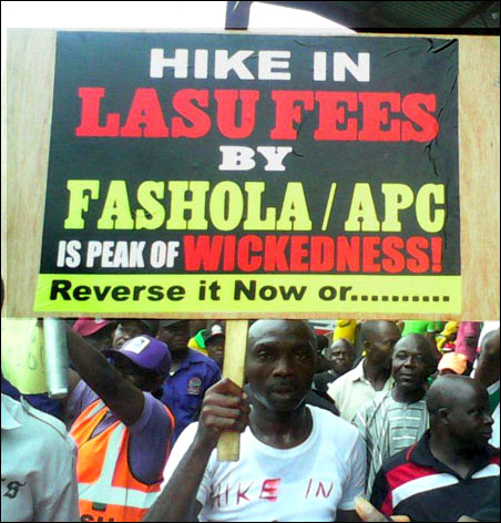 Protest against LASU Fees at 2014 Lagos May Day Rally, photo DSM