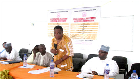 Dr Dipo Fashina at ASUU 2015 election national symposium - photo DSM