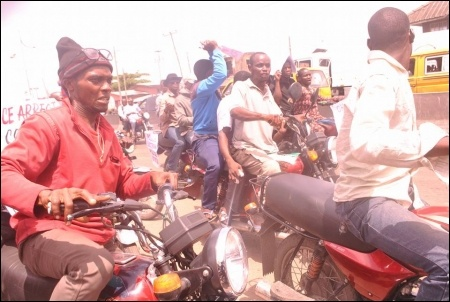 Okada riders at the protest